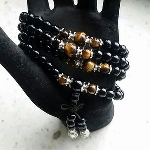 Other - Black prayer bead necklace with tiger eyes